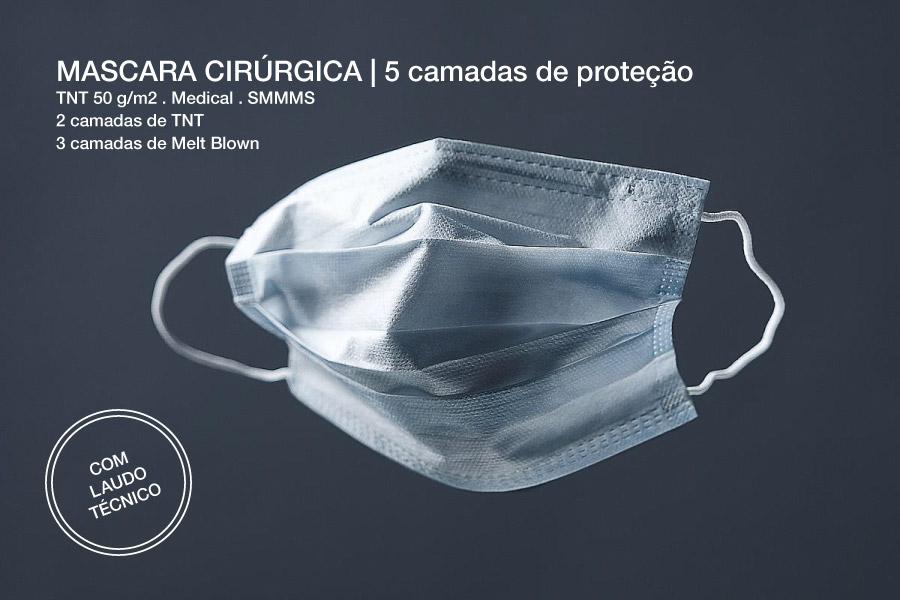 mascara cirurgica TNT SMMMS com laudo técnico