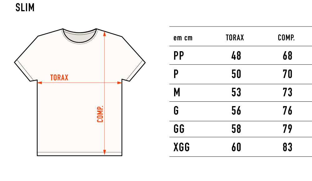 tabela de medida SLIM